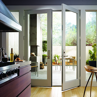 French and hinged patio doors clevernest for Center sliding patio doors
